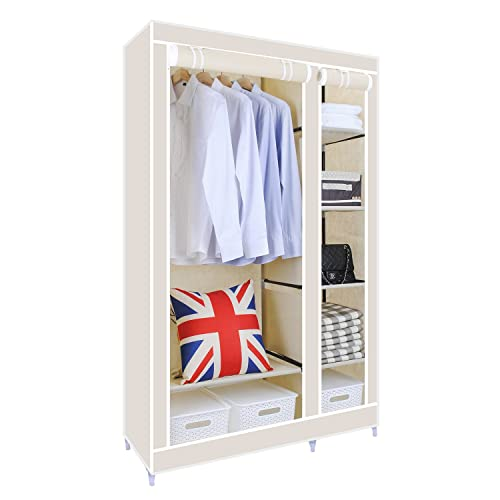 hst mall upgrade version double canvas wardrobe cupboard clothes storage solution with hanging rail - Small Wardrobe