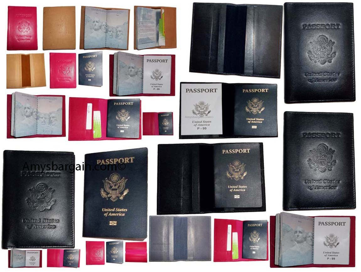 4 New USA Leather Passport case Wallet Credit ATM Card case ID Holder Brand New