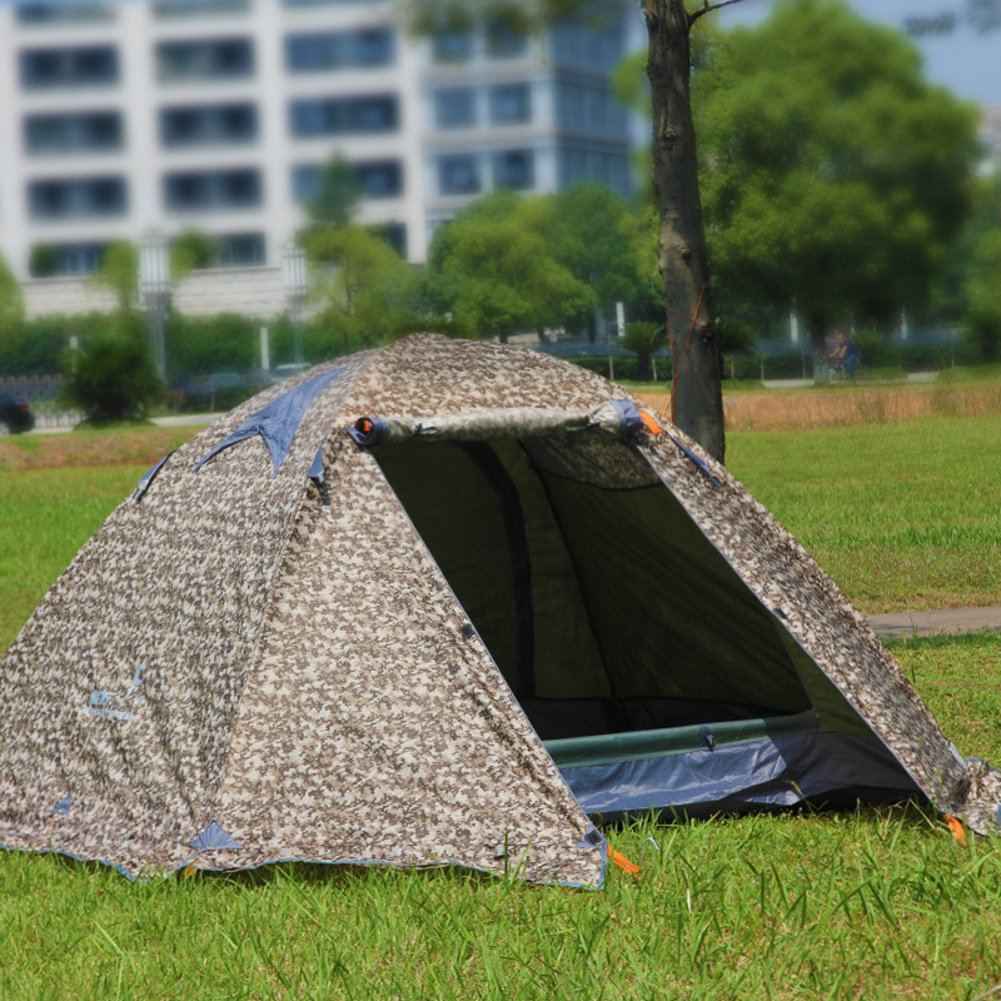 TY&WJ Camo Campingzelt, Double Layer Kuppelzelte Für Outdoor-aktivitäten Klettern Wandern Tipi Regendichte 2 Personen