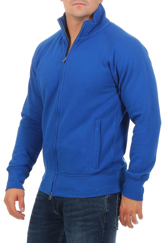 Basic Pullover con Tasche Happy Clothing Felpa Senza Cappuccio Uomo e Zip