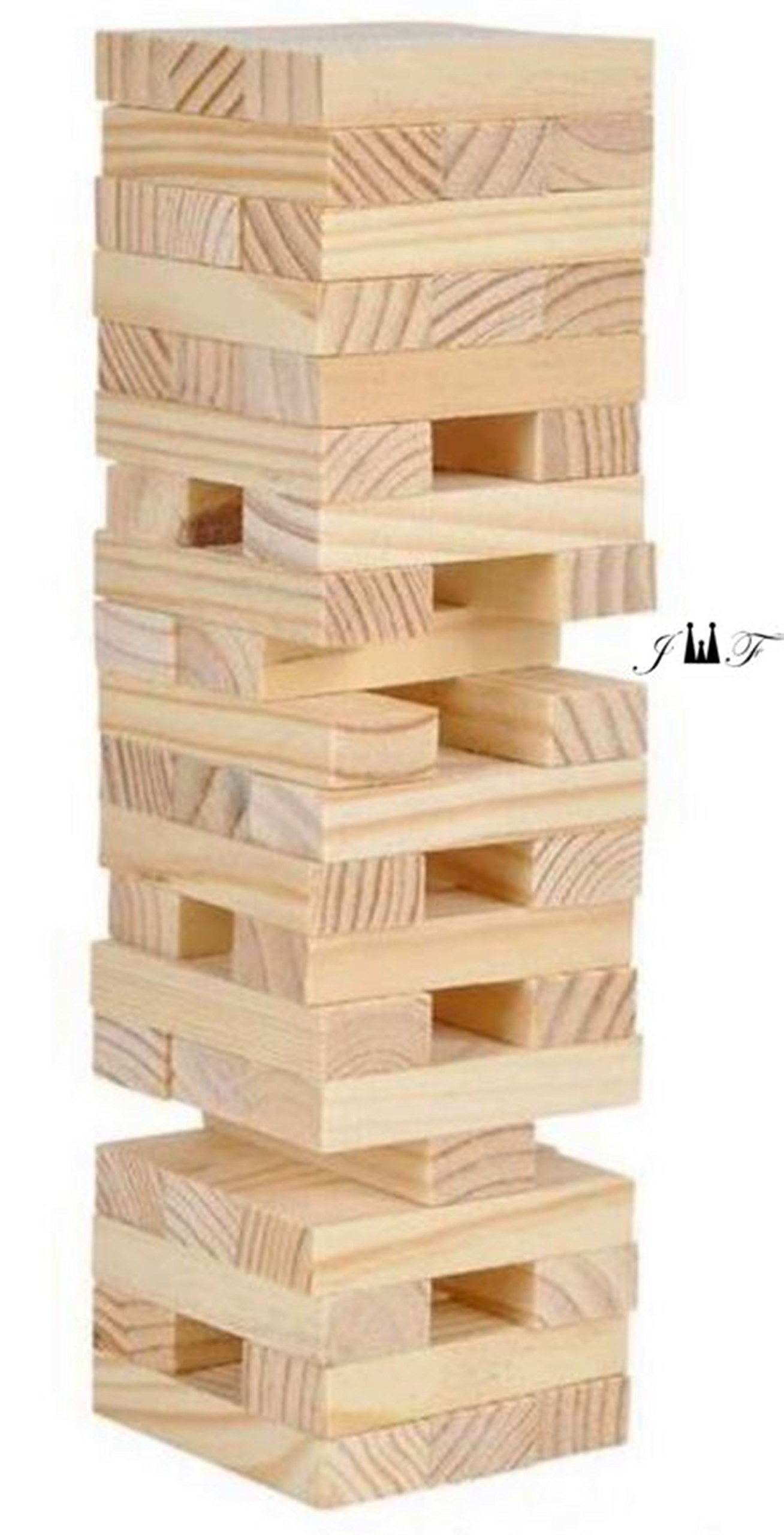 Tower Wood Block Stacking Game PLAY ANY TIME AND ANYWHERE YOU LIKE-48 Stackable Wooden Blocks, Fully Assembled, Durable Natural Wooden Blocks