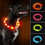 LaRoo LED Dog Collar,USB Rechargeable Glowing Pet Dog Collar Adjustable,Night Safety Waterproof Flashing Light up Collar for