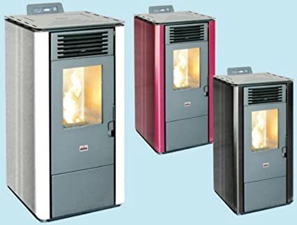 Stufa a pellet Queen 8 Kw 6,42 mc 160 Bordeaux con telecomando ...