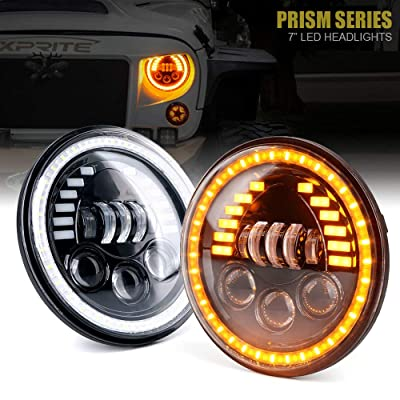 "Xprite 7"" Inch 85W LED Headlights for Jeep Wrangler JK TJ LJ 1997-2020, w/DRL, Hi/Lo Beam,and Amber Turn Signal Halo Lights (DOT Approved): Automotive"