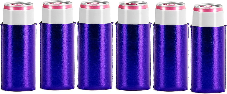 Metallic Royal Blue Slim Can Coolers- Neoprene- 6 pack