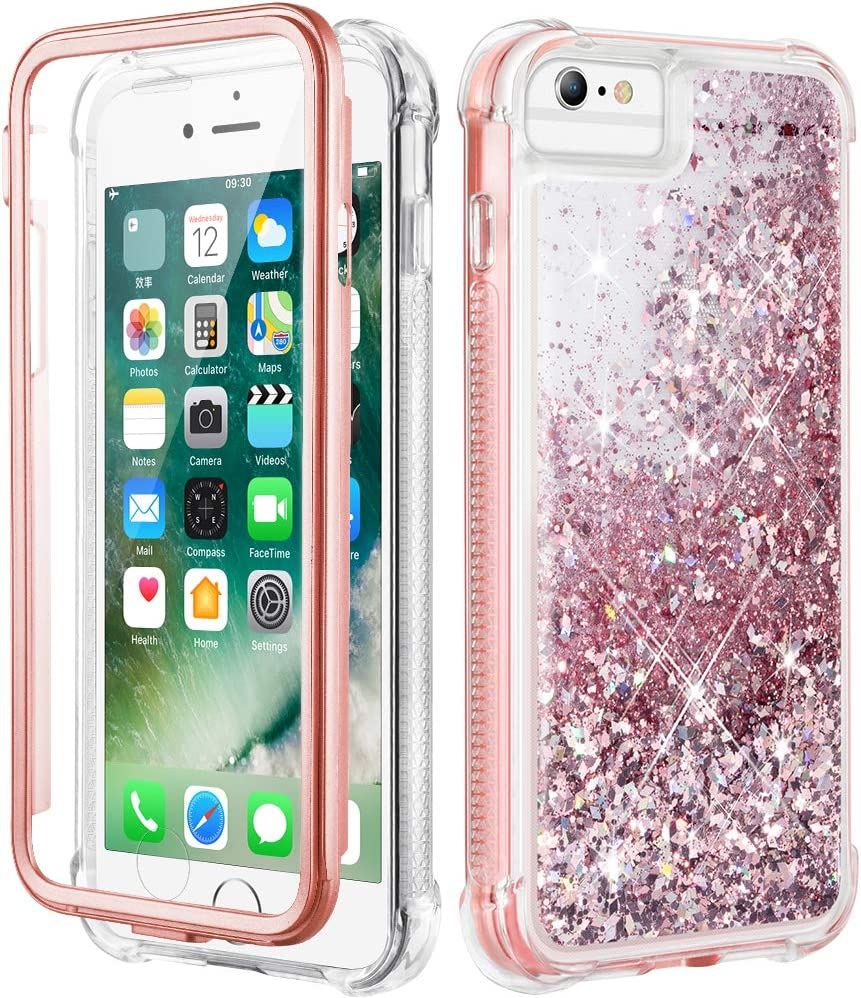 Caka iPhone 6s Plus Case, iPhone 6 Plus Glitter Full Body Protection Case with Built in Screen Protector Bling Sparkle Floating Girly Women Cute Liquid Case for iPhone 6s Plus 6 Plus (Rose Gold)