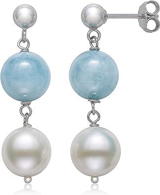 Sterling Silver Cultured Freshwater Pearl Dangle Drop Dangle Earrings