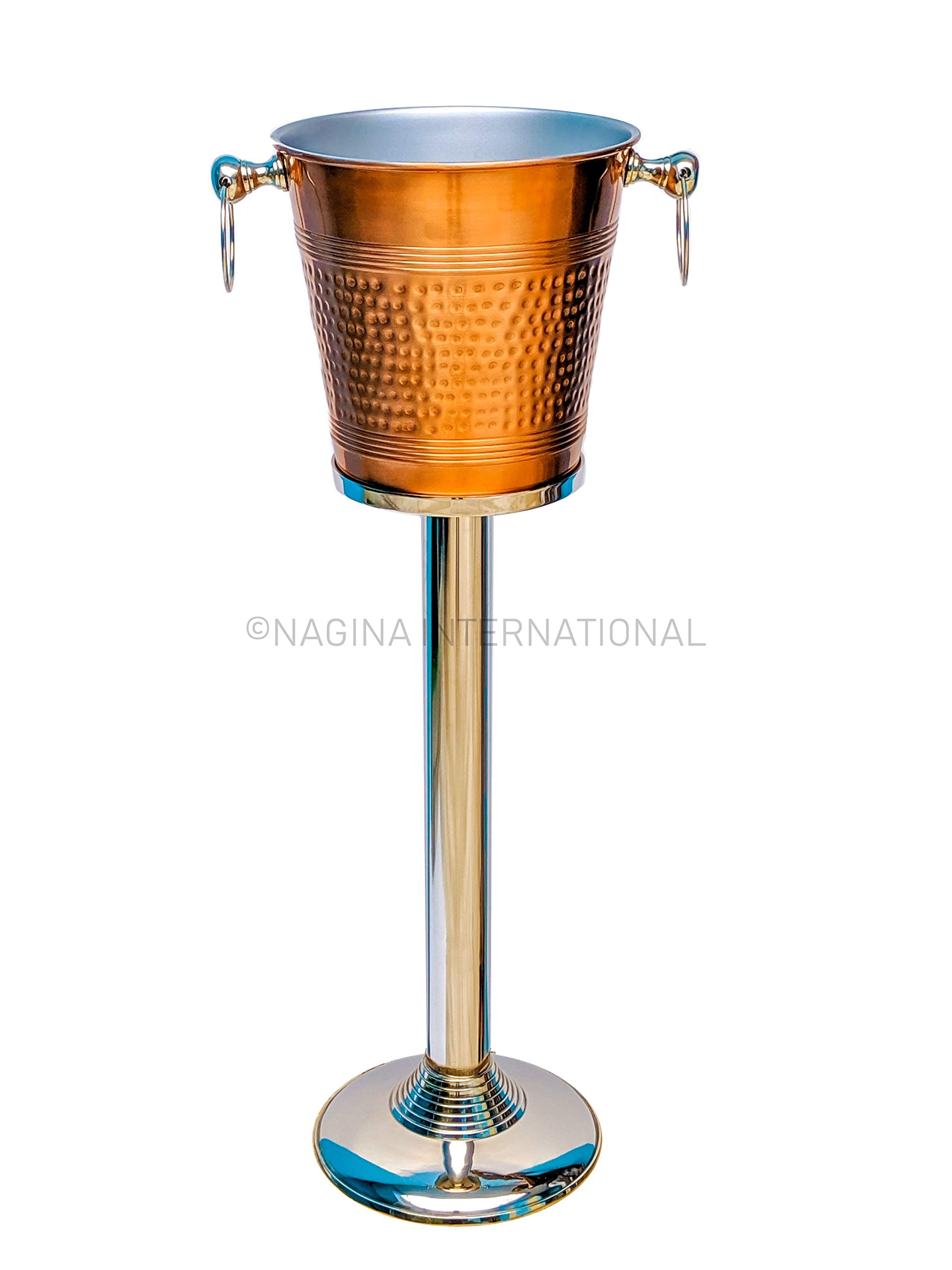 Hammered Copper Lightweight Ice Bucket |Highly Conductive Cooler & Cellar Bucket With Nickel Plated Free Stand | Kitchen Ware & Bar Wares by Nagina International