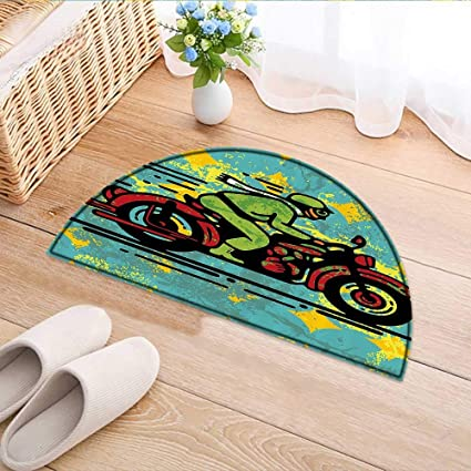 Charmant Kitchen Rugs Floor Mats Young Man With Vintage Motorbike Grunge Distressed  Dirty Featured Funky Waterproof Semi