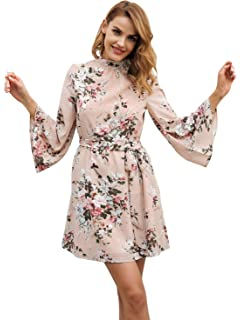 Simplee Womens Long Flare Sleeves Backless Belted Boho Floral Casual Mini Dress