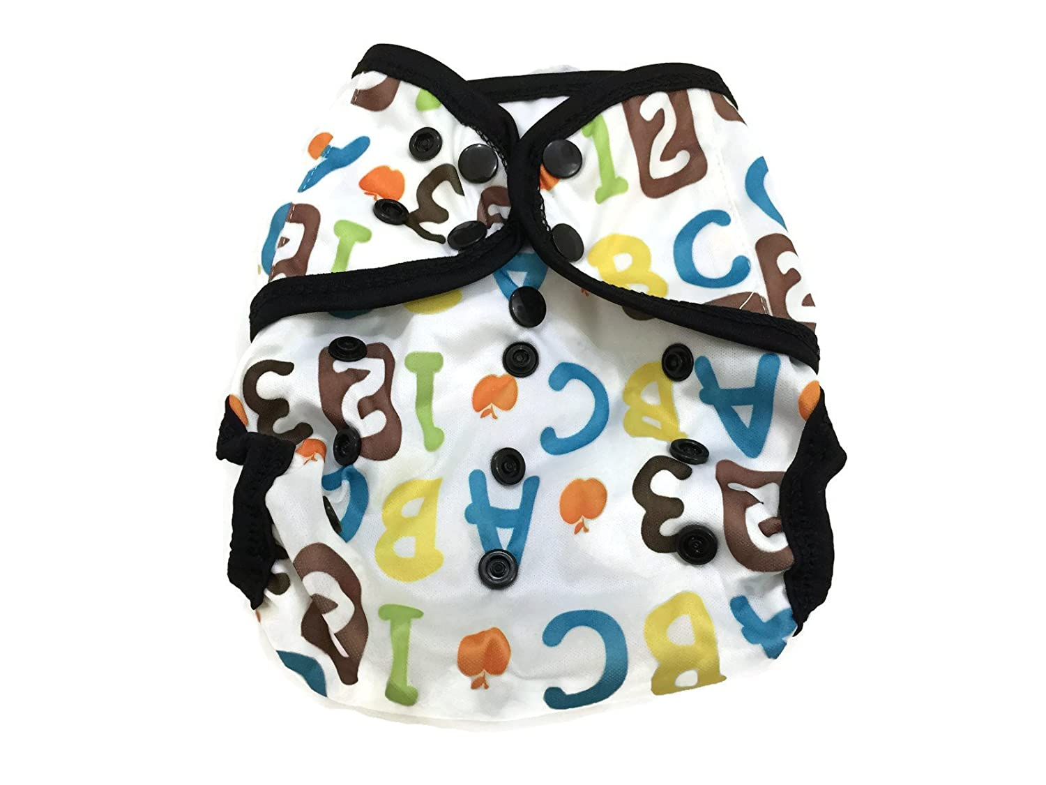 BB2 Baby One Size Printed Black Gussets Snaps Cloth Diaper Cover for Prefolds Alphabets & Numbers)
