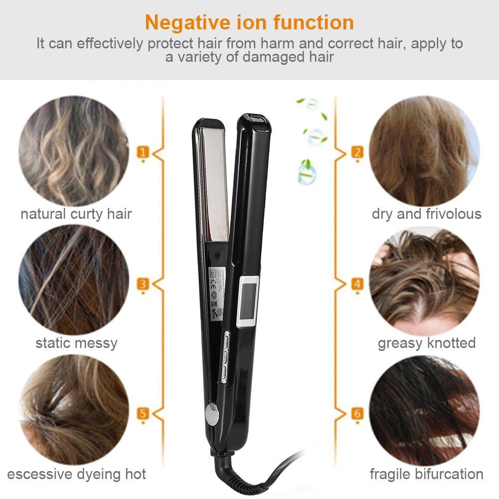 Plancha de Pelo Clips Infrarrojos Ultrasónicos para el Cuidado del Cabello LDC Display Herramientas para el cuidado del cabello (Negro)