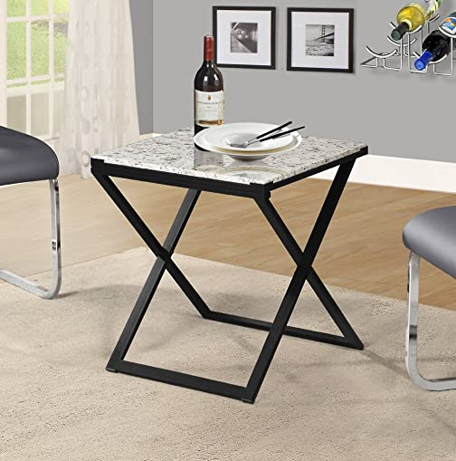 Olee Sleep Pearl Granite Top Metal Frame Coffee Table Tea Table End Table Side Table Office Table Computer Table Vanity Table Dining Table , White