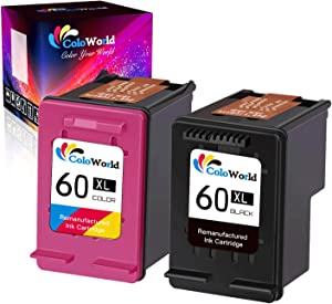 ColoWorld Remanufactured Ink Cartridge Replacement for HP 60XL 60 XL Combo Pack (1 Black, 1 Tri-Color) for HP Photosmart C4700 C4780 C4795 C4680 C4600 Deskjet F4235 F4480 F4580 D2680 F2430 Printer