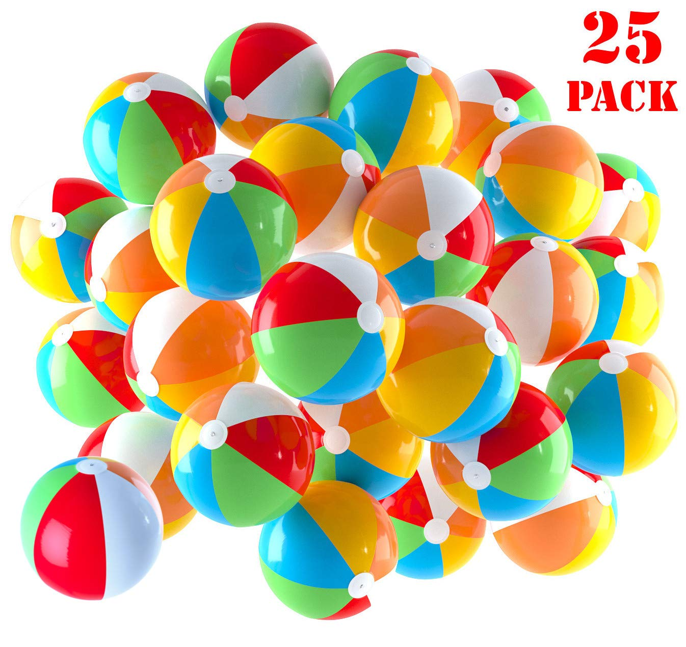 Inflatable Beach Balls 5 inch for The Pool, Beach, Summer Parties, Gifts and Decorations | 25 Pack Mini Blow up Rainbow Color Beach Balls (25 Balls) by Top Race