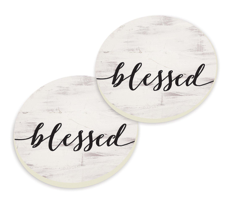 Blessed Script Design White Wash Look Set of 2 Ceramic Car Coaster Pack