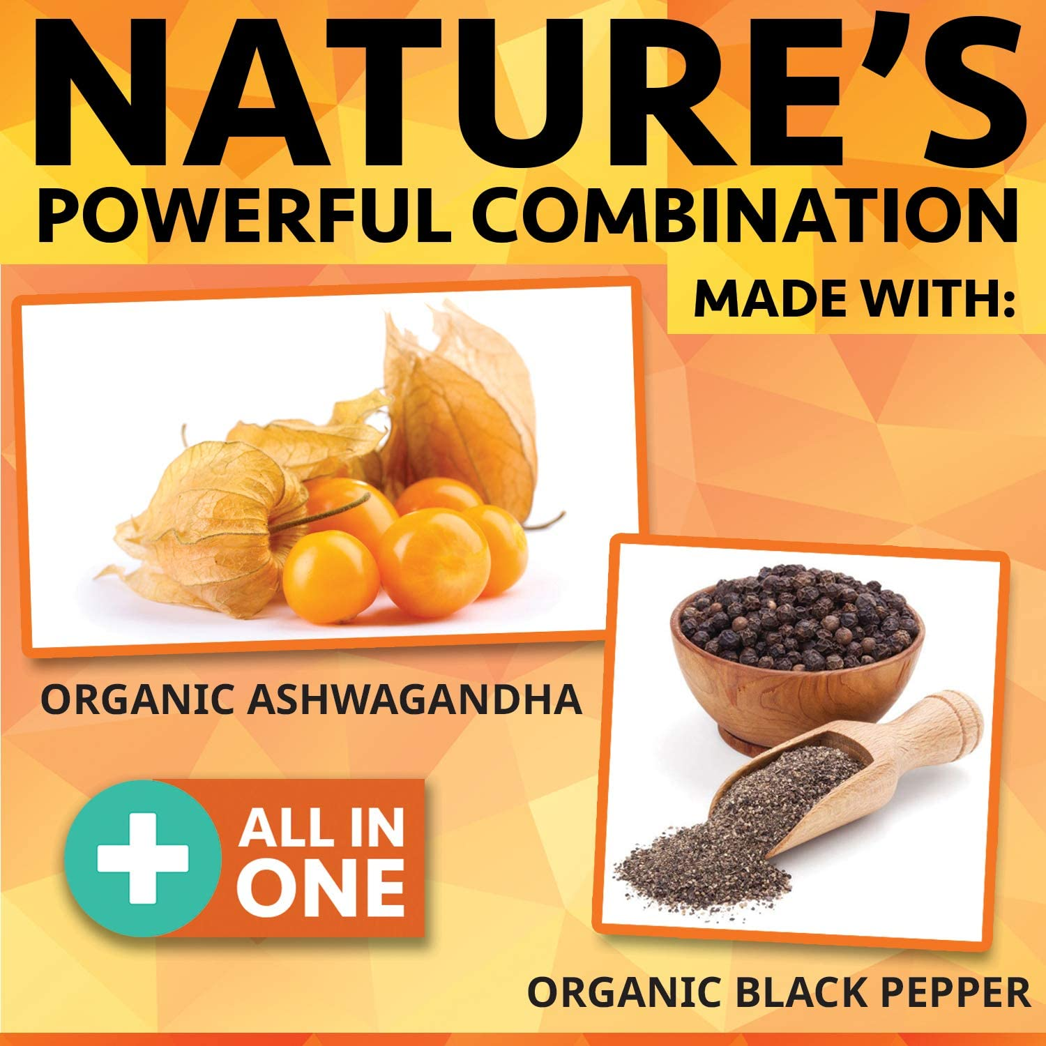 Organic Ashwagandha with Black Pepper - 180 Capsules - 1950mg Maximum Support for Stress Relief, Anti Anxiety, Sleep, Thyroid, Energy, Hair Pure Root Extract Powder Vegan Supplements for Men and Women: Health & Personal Care