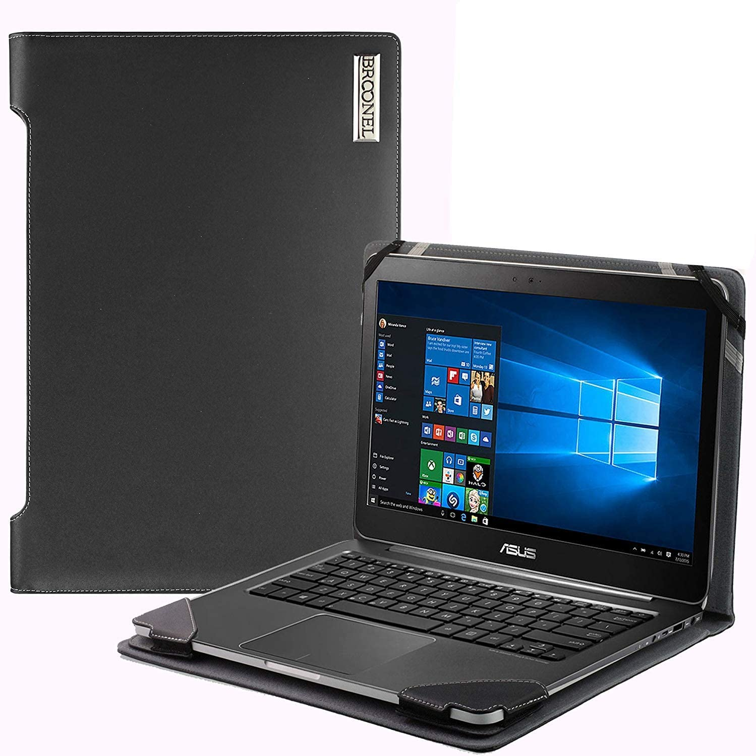 Black Leather Laptop Case Compatible with The ASUS Laptop 15 X509FA 15.6 Inch Profile Series Broonel