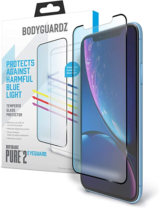 BodyGuardz - Pure 2 EyeGuard Glass Screen Protector Blue Light Edge-to-Edge Glass Protector for Apple iPhone X/iPhone Xs - CASE Friendly