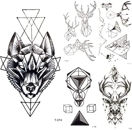 Tatuajes Temporales Geometría Negra Lobo Tribal Tatuaje ...