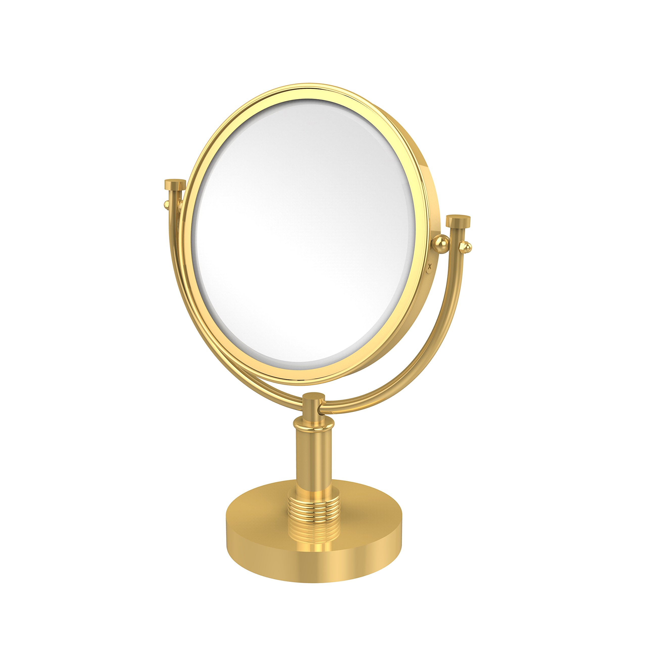 Allied Brass 8 Inch Vanity Top Make-Up Mirror 2X Magnification DM-4G/2X - Unlacquered Brass