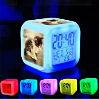 Girlsight Alarm Clock 7 LED Color Changing Wake Up Bedroom with Data and Temperature Display (Changable Color) Customize the pattern-006. kitty cat miaw meow kitten puss kucing comel