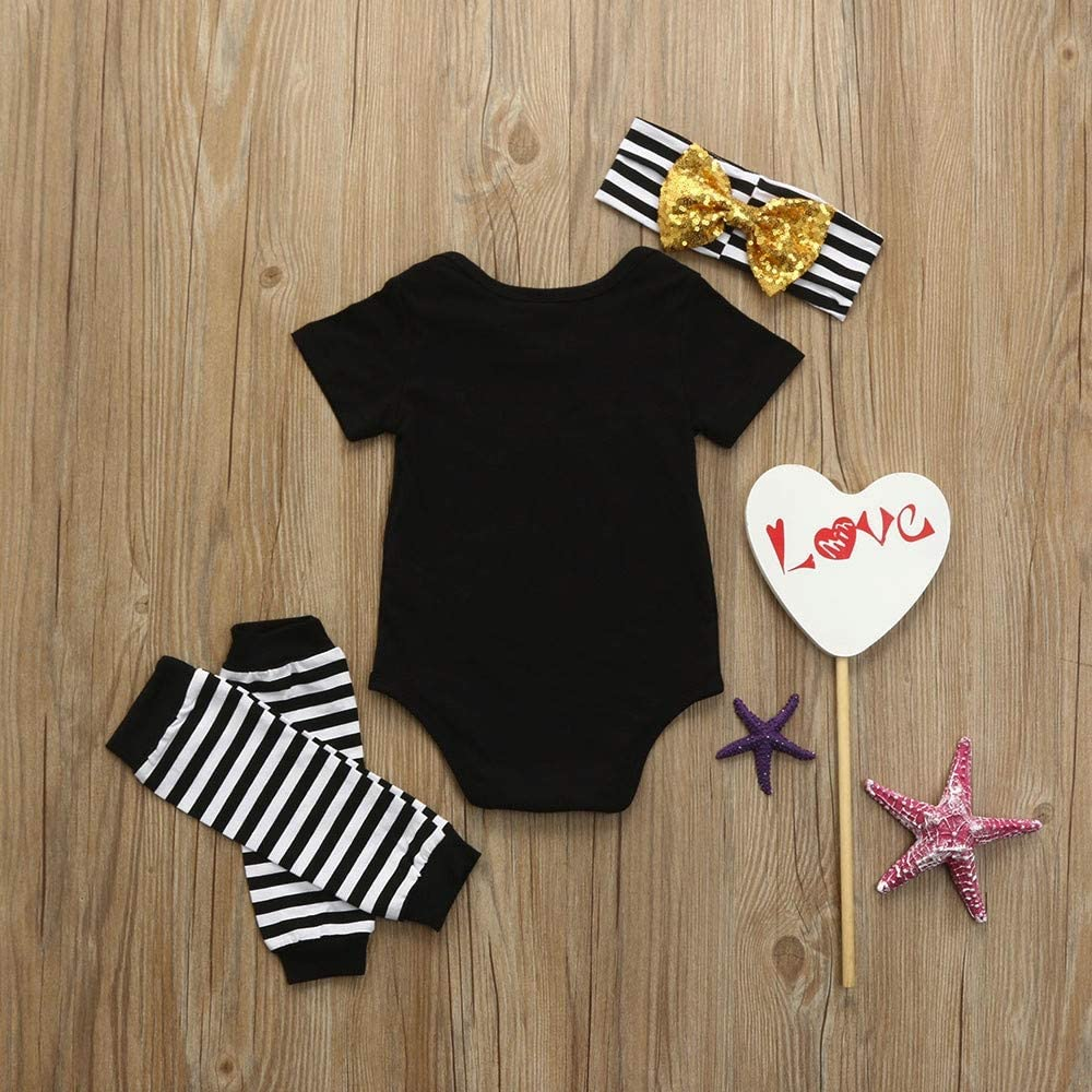 HGWXX7 Toddler Infant Baby Girls Letter Romper Jumpsuit Bodysuit Pants with Headband Outfits Clothes Set