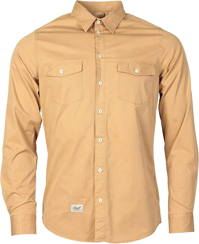 Reall Denim Camisa Estilo Cazador para Hombre (Crema): Amazon.es: Ropa y accesorios