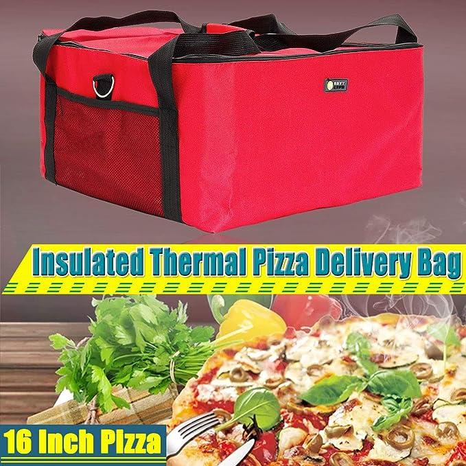 Janolia Bolsa de Pizza, Bolsa Térmica de Entrega de Pizza, 42 x 42 x 23 cm, Tenir la Pizza de 16 Pulgadas, Bolsa de Almuerzo, Bolsa de Picnic Hecho de Tela Oxford