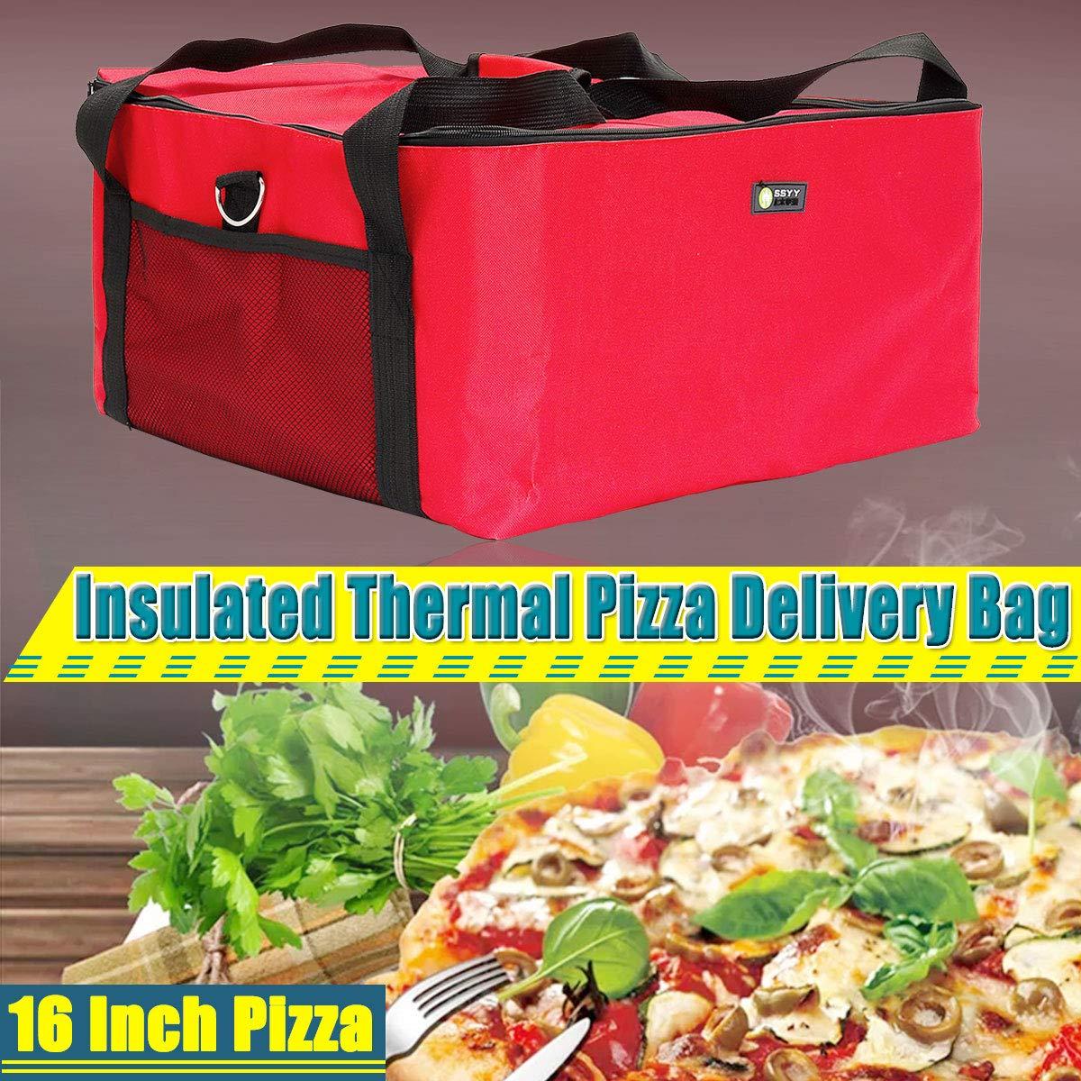 Janolia Bolsa de Pizza, Bolsa Térmica de Entrega de Pizza, 42 x 42 x 23 cm, Tenir la Pizza de 16 Pulgadas, Bolsa de Almuerzo, Bolsa de Picnic Hecho de ...