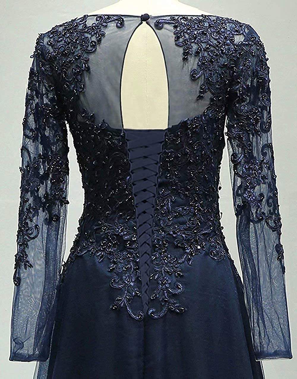Womens Long Sleeve Beaded Mother of The Bride Dress Evening Formal Gown
