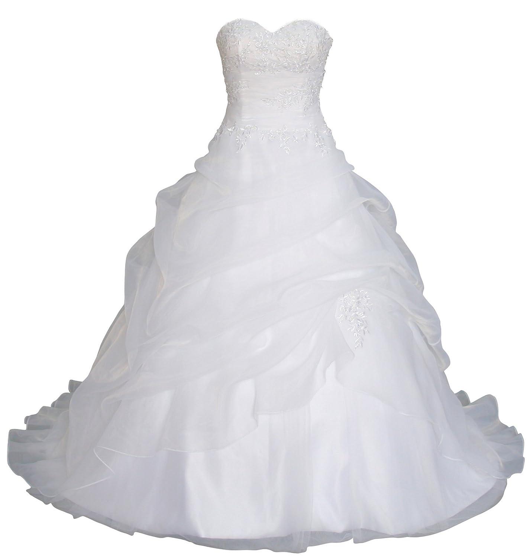 Romantic-Fashion Brautkleid Hochzeitskleid Weiß Modell W075 A-Linie Lang Satin Trägerlos Perlen Pailletten DE
