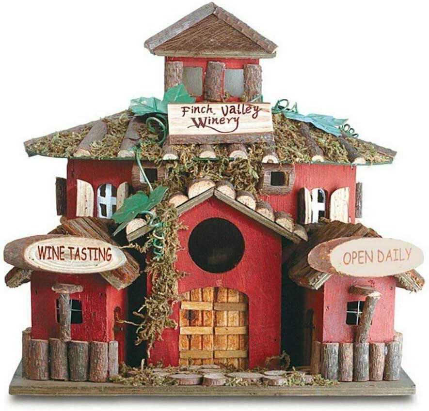 Koehler Home Decor Outdoor Garden Accent Wooden Bird House Finch Valley Winery