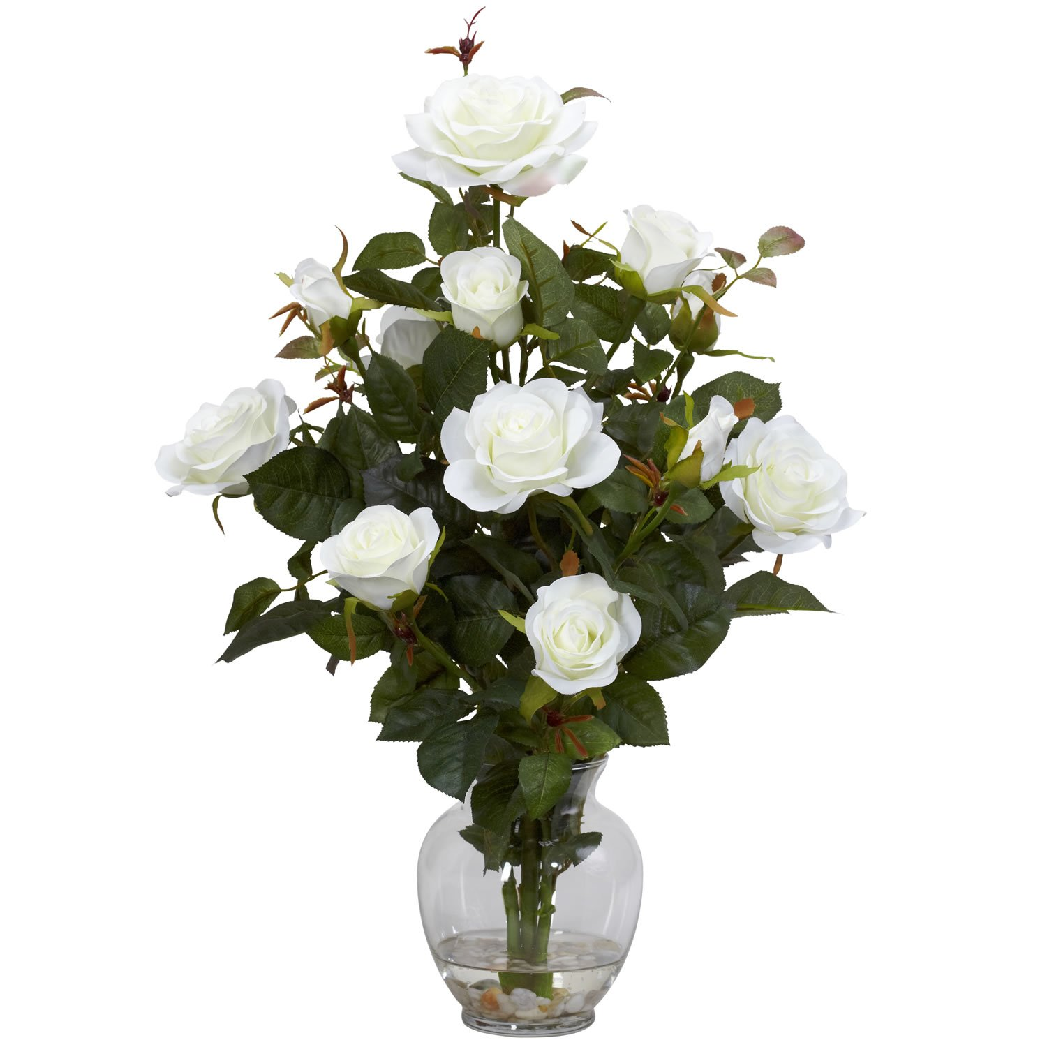 Amazon Nearly Natural 1281 Wh Rose Bush With Vase Silk Flower