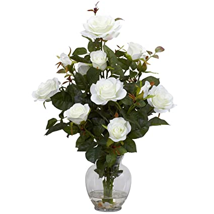 Amazon nearly natural 1281 wh rose bush with vase silk flower nearly natural 1281 wh rose bush with vase silk flower arrangement white mightylinksfo