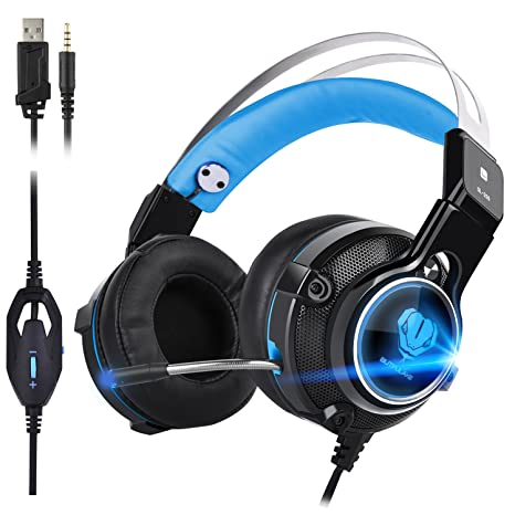 Auriculares Gaming ,Auriculares Estéreo para PS4 USB Cancelación de Ruido Auriculares Cascos (rojo)