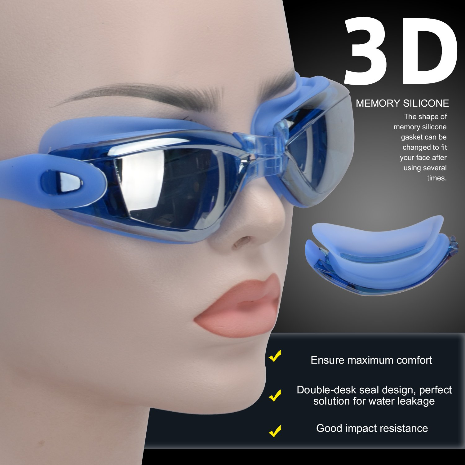 Swim Goggles,Swimming Goggles for Men Women Adult with Mirror Lens UV Protection Youth Kids Girls Anti Fog No Leaking with Earplugs,Nose Clips and Case
