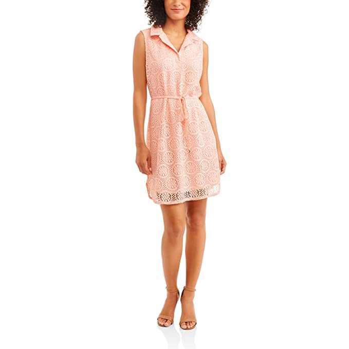747544d61fce9 Faded Glory Women's Sleeveless Lace Dress With Belt (XXL, Peach) at Amazon  Women's Clothing store: