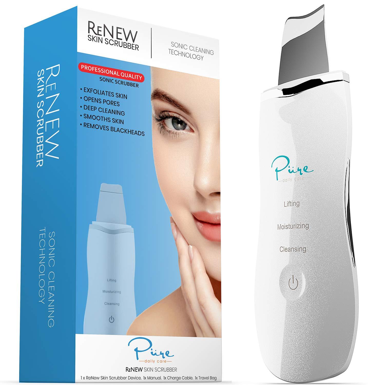 ReNew Skin Scrubber Professional Sonic Facial Exfoliation Device - Oil Dirt Blackhead Remover - Dermabrasion Facial Peel - Clean & Brighten Oily Pores - Blackhead Remover Kit - Skin Tightening