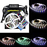 SUPERNIGHT RGBW LED Strip Light Kit, RGB+Cool White Color Changing, 16.4FT SMD 5050 Rope Lights Non-waterproof 300leds Flexible Rope lighting+ Remote Controller + 12V 5A Power Adapter
