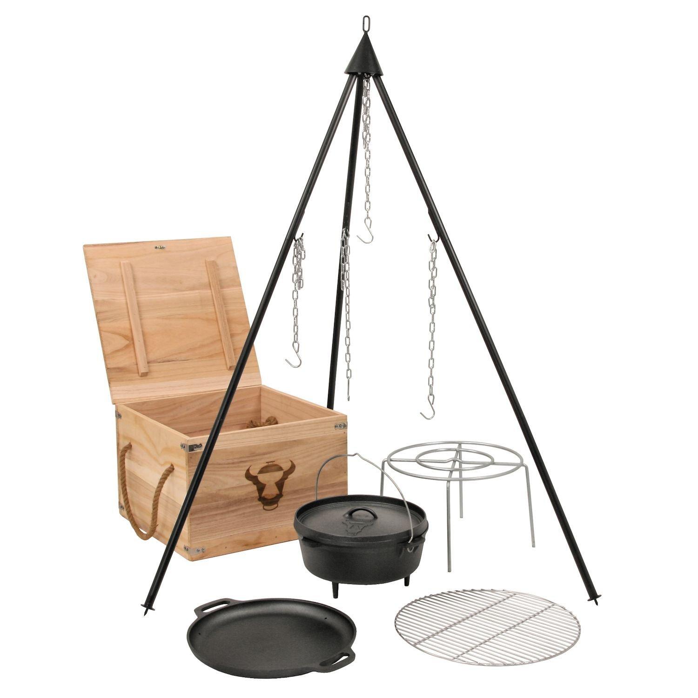 6-teiliges Dutch Oven Kit in Holzkiste, Gusseisen, eingebrannt, Topf, Pfanne, Grillrost, Dreibein und mehr