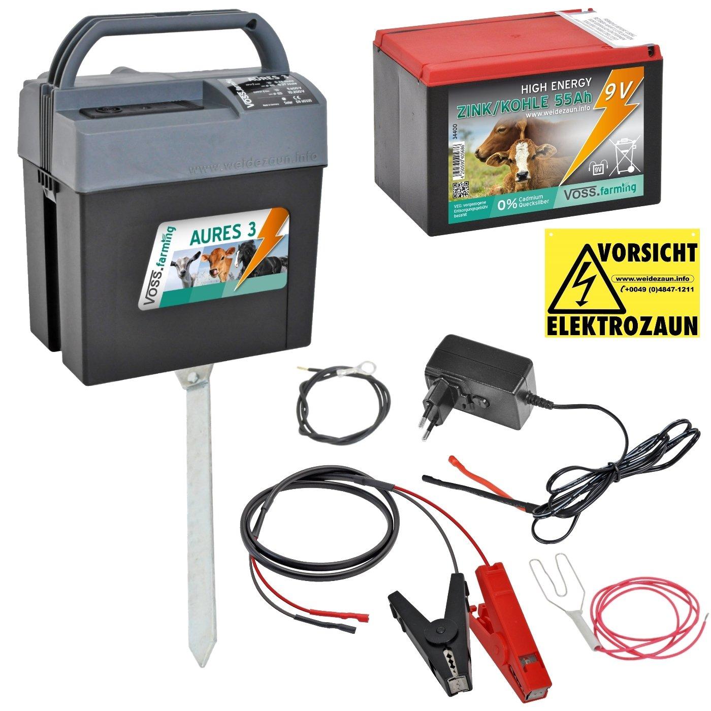 Weidezaungerät (9V, 12V, 230V) AURES3 von VOSS.farming inkl. 9V Weidezaunbatterie und Zubehör, passend für den Elektrozaun und Weidezaun ihr Begleiter für die Weide Netzgerät, Batteriergerät