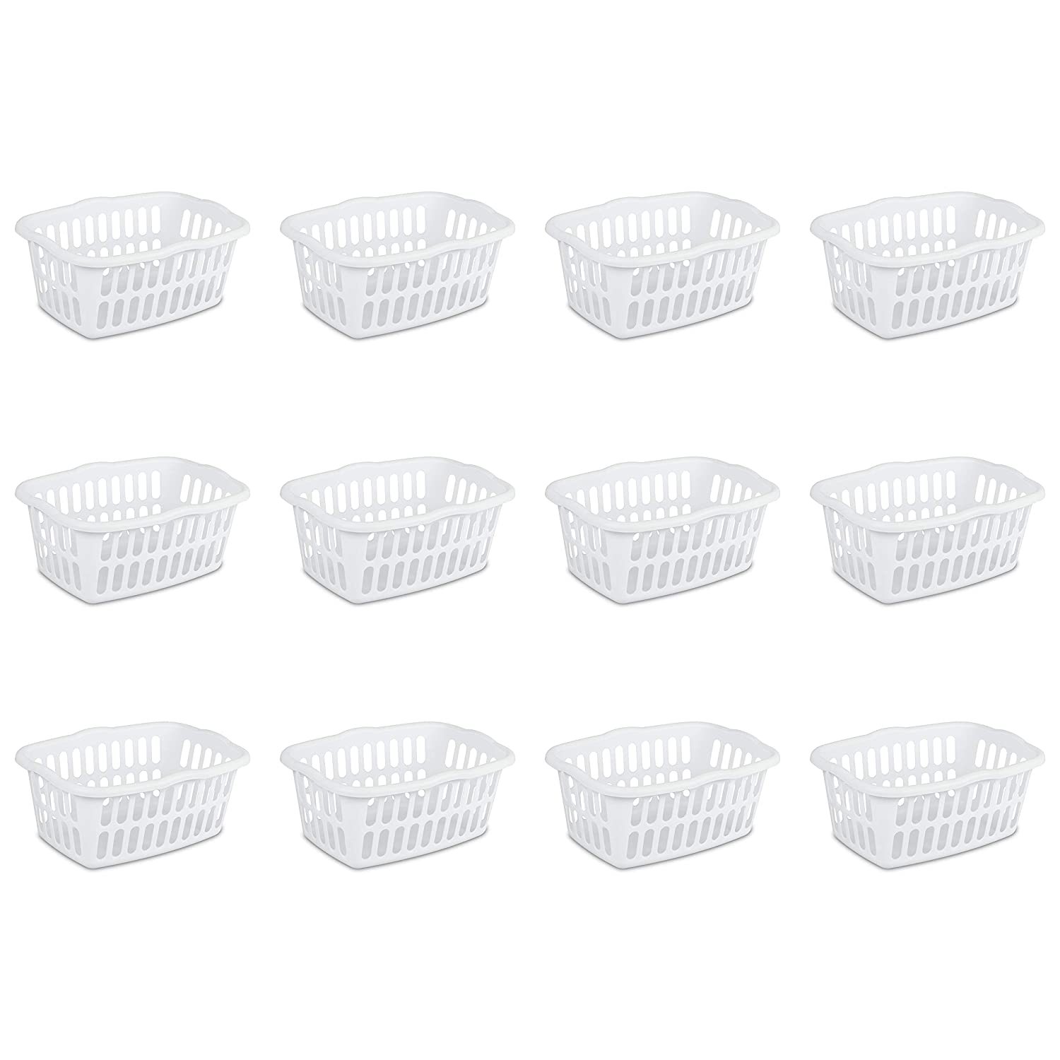 Sterilite 12458012 1.5 Bushel/53 Liter Rectangular Laundry Basket, White, 12-Pack