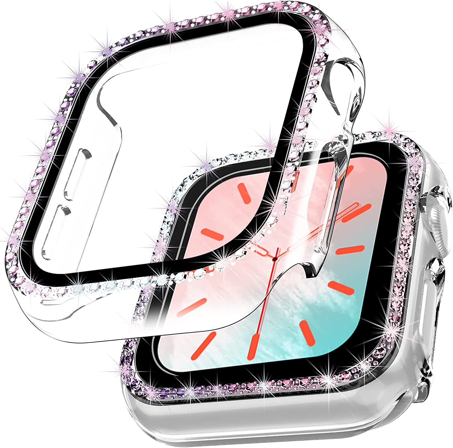 TOCOL [2 Packs] Case Compatible with Apple Watch Series 3/2/1 42mm with Built-in Tempered Glass Screen Protector [Multicolor Bling Diamond] Face Cover for Women Girls - Clear/Rainbow