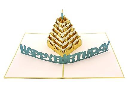 Amazon Poplife Happy Birthday Cake 3d Pop Up Greeting Card For
