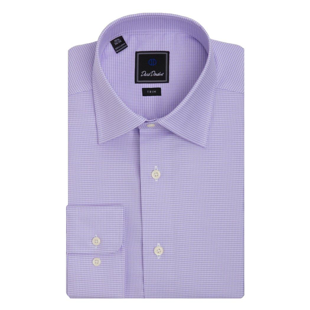 David Donahue Cotton Barrel Cuff Trim Fit Dress Shirt Lilac (TBCSP6001534-170-3435)