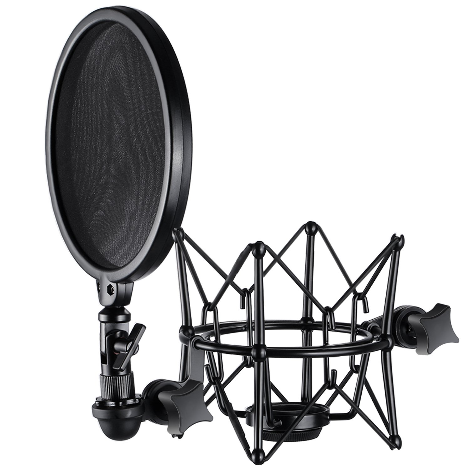 Neewer Metal Microphone Shock Mount and Detachable Pop Filter Windscreen Shield with Dual Mesh for Microphone such as K2 NT2000, Perfect for Broadcasting, Podcasting, Studio Sound Recording(Black)