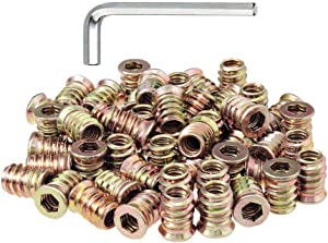 50pcs 1/4-20 Threaded Inserts for Wood Nutsert Screw in Nut 1/4-20 / 15mm Length