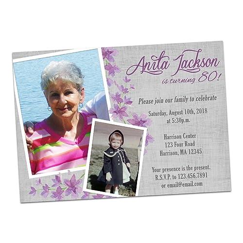 Purple Photo Birthday Invitation Woman Female Women 60th 70th 80th 90th 75th ANY