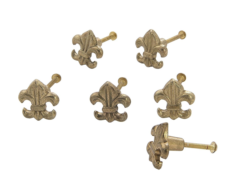Dritz Home 47069A Metal Fleur de Lis Knob, Brass, 6 Each, 6 Piece
